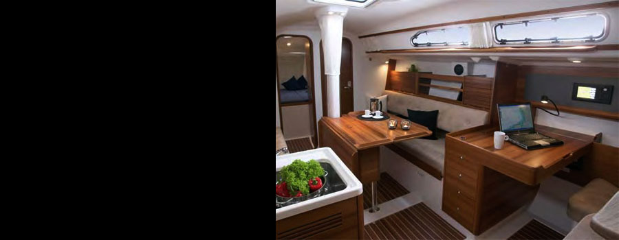 Sailboat cabin with lights