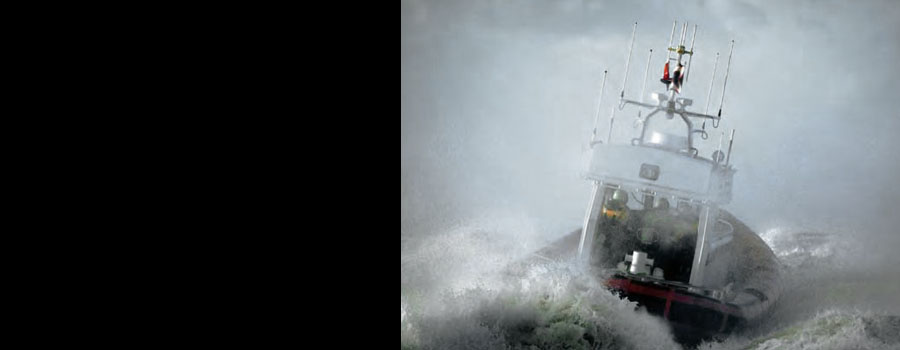 Motor launch in rough seas
